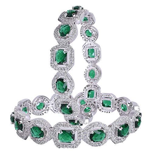 Ratnavali Jewels CZ Zirkonia Silber Ton Grüner Diamant Indische Armreifen Bollywood Schmuck Frauen