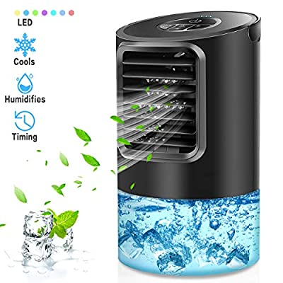 Mikikin Portable Air Conditioner Fan, Personal Space Air Conditioner Desk Fan Mini Evaporative Air Cooler Quiet Humidifier Cooling Fan with Handle, 7 Colors LED Lights, 3 Speeds for Home, Office, Room