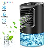 Mikikin Portable Air Conditioner Fan, Personal Air Conditioner Desk Fan Mini Evaporative Cooler Quiet Cooling Fan with Handle, 7 Colors LED Lights, 3 Speeds for Home, Office, Room