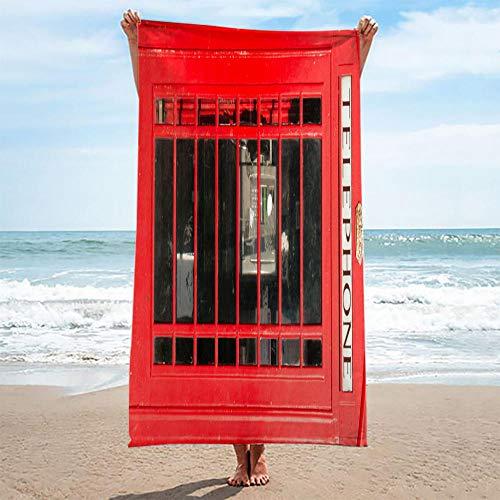 QHDHGR Toalla de Playa con impresión 3D Cabina roja y telefónica Ideal para Playa y Piscina para Adultos y niños, súper Suave Absorbente 90 x 180 cm