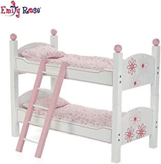Emily Rose 18 Inch Doll Furniture | 2 Single Beds! - Stackable Bunk Bed - Hand-Painted, Includes 2 Sets of Quilted Bedding, Mattress & Ladder | Fits 18