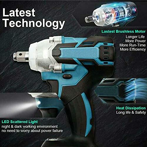 MIJPOJAN Electric Impact Wrench Cordless, DTW285Z 18v Cordless Impact Wrench 1/2'' Dr. with LED Brushless
