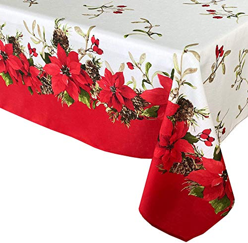 Bernice Winifred Blooming Poinsettia's Double Bordered Christmas Fabric Tablecloth, Traditional Red and White Poinsettia Print Easy Care, Stain Release Tablecloth, Oblong/Rectangle