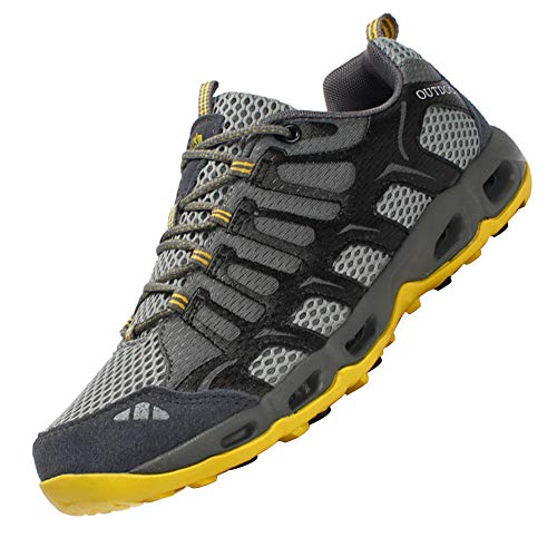 Dabbqis Hiking Shoes for Men Trail Running Sneakers Lightweight Athletic Trekking Boots Breathable Water Shoes (8, Improved Gray)