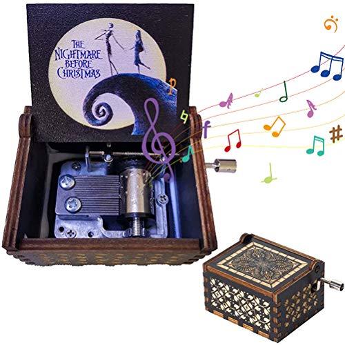 BST&BAO Caja de música de Madera Pesadilla Antes de Navidad, manivela de Madera Pintada a Mano grabada en Caja de música de Madera Vintage, Ideal para Halloween
