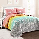 Make A Wish Dandelion Fairy Ombre Pastel Rainbow Reversible Print 3 Piece Quilt Set, Full Queen