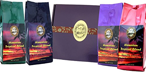 Gift Boxed, Kona Hawaiian Coffee of the Month Club, Shipped Monthly for Six Months, First Shipment Is Gift Boxed, Best Gift for Coffee Lovers for Christmas and All Occasions, Ground Coffee