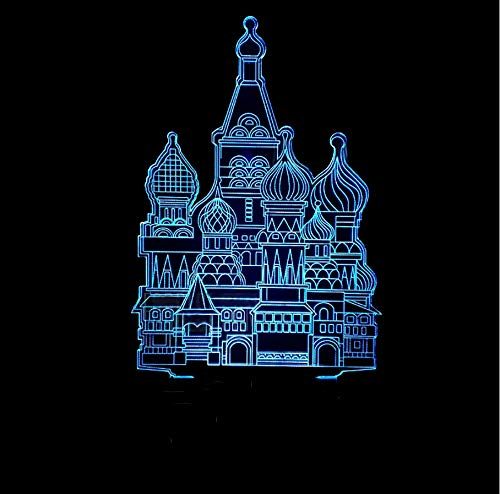 Creative Home Decor Light Gifts 3D Arquitectura Islámica Modelado Led 7 Colores Que Cambian La Lámpara De Mesa Gradiente Atmósfera Luz De Noche
