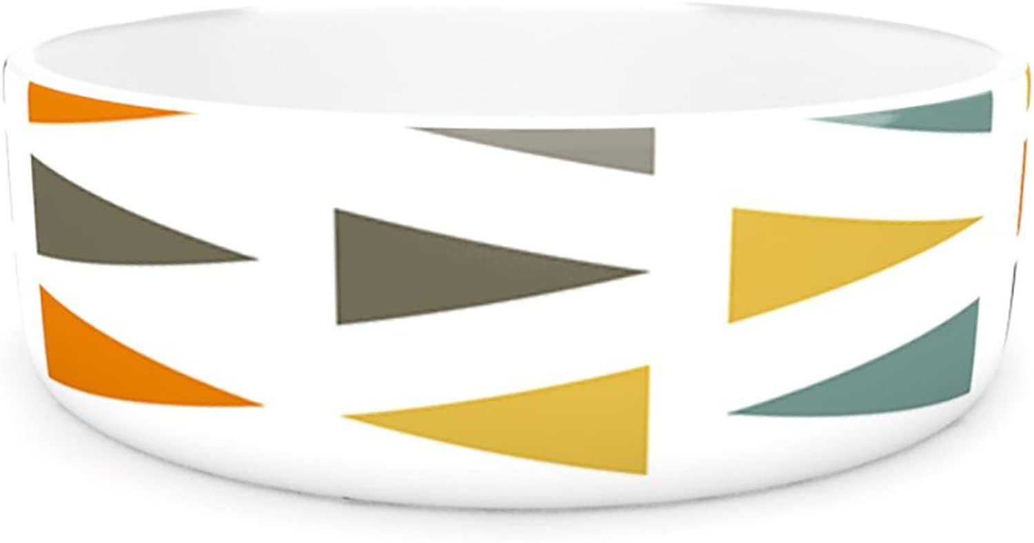 Kess InHouse Pellerina Design Stacked Geo  Pet Bowl, 4.75Inch, White Triangles