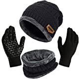3Pcs Winter Beanie Hat + Scarf + Touch Screen Gloves, Warm Knit Hat Thick Fleece Lined Winter Hat & Scarf, Stretchy Knit Skull Caps Elastic Neck Warmer Snugly for Women Ladies Girls Black