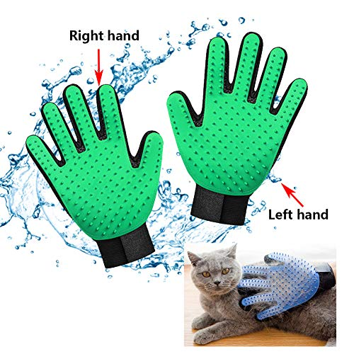 XYQCPJ Pet Grooming Glove Cat and Dog Hair Removal Gloves,Bath Massage Brush Efficient Remover Mitt Gentle Deshedding Brush Massage Mitt with Enhanced Five Finger Design