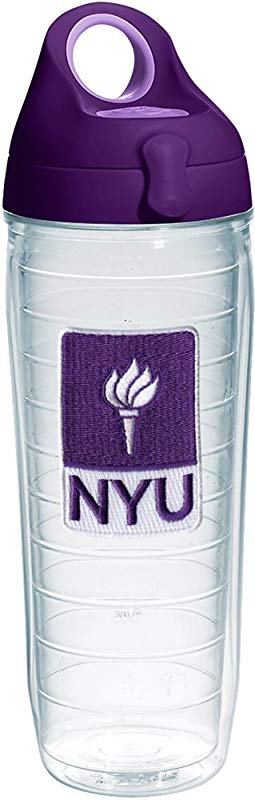 Tervis 1231090 Nyu Violets Logo Insulated Tumbler With Emblem And Purple Lid 24oz Water Bottle Clear