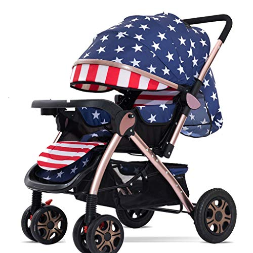 LOMJK Carritos y sillas de Paseo El Cochecito se Puede sentar Reclinable Cochecito Plegable Carro de bebé bidireccional con portavasos Mosquito Net Plate Pram Bebé Sillas de Paseo (Color : I)