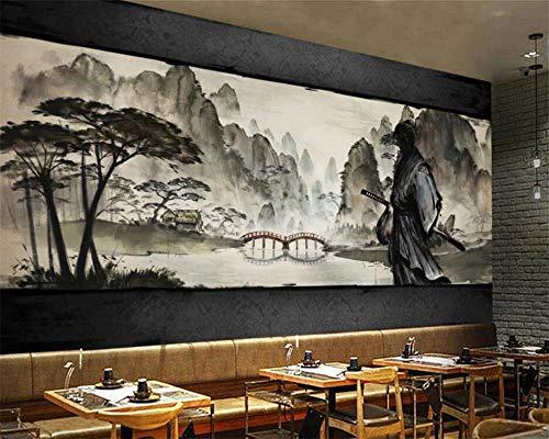 YSJHPC 3D Fototapete Tapete Schwarzer weißer Held Samurai Mountain Lake View Japanisches Restaurant Fototapeten Selbstklebend PVC Tapeten Wandtapete moderne Wandbild Wand Children's (B) 350x (H) 256CM