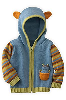 Joobles Organic Baby Cardigan Sweater - Racky The Raccoon (6-12 Mos) Blue