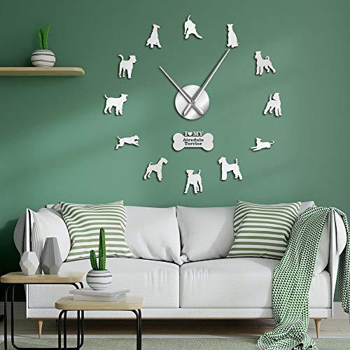 JXWH Hunderasse großer Hund Bentley Terrier Aufkleber große rahmenlose stumme Wanduhr Uhr zu Hause Zimmer Wandkunst Dekoration Hundeliebhaber Geschenk 47inch