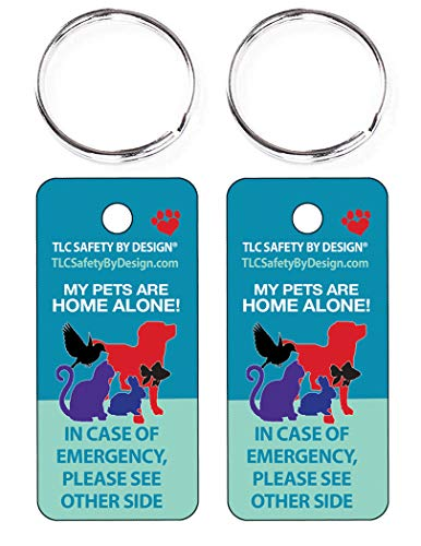 TLC Safety By Design 2 Pk. Key Tags and Keychain Rings Trademarked My Pets Dogs Cats are Home Alone Alert Emergency Medical ICE ID Plastic with Emergency Contact Call Card (Qty. 1)