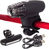 Juego de Luces para Bicicleta USB Recargable, Impermeable, LED, Juegos de Luces para Bicicleta (luz Delantera y Trasera), 4 Modos, luz de Ciclo, Seguridad para la Noche