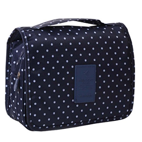 Deep Blue Polka Dot Cosmetic sac de rangement sac pliable