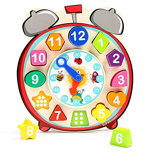 TOP BRIGHT Wooden Teaching Clocks Toy for Kids, Toddler Wooden Shape Color Sorting Clock Montessori Learning Educational Gift for Age 2 3 Year Old