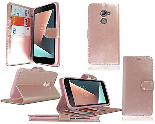 PIXFAB Vodafone Smart N8VFD 610mit Premium Luxus, schwarz, Flip Leder Tasche Hülle Cover + Bildschirmschutzfolie für Vodafone Smart N8VFD 610