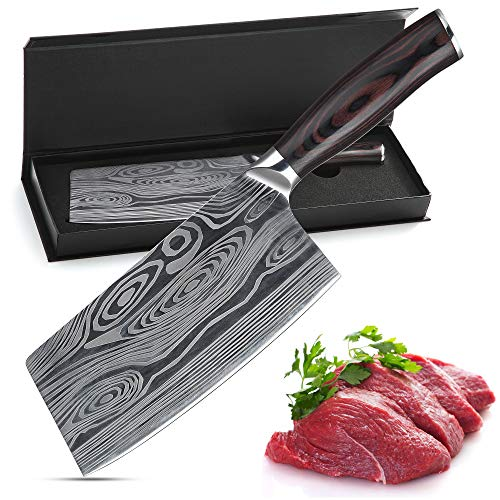 Meat cleaver,7 Inch German High Carbon Stainless Steel Chopper Knife,Multipurpose Chef Knife for Home and Kitchen with Ergonomic Handle (Meat knife)