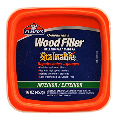 Elmer's E891 Carpenter's Stainable Wood Filler, 1 Pt Tub, 12-24, 1 Pint, Light Tan
