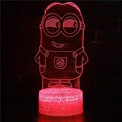 3D ilusión regalo de cumpleaños junto a la lámpara de mesa Minions lámpara de mesa con Abbase y acrílico luz tablero 3D USB dormitorio lámpara