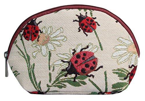 Borsa donna di Signare per il trucco in tessuto stile arazzo alla moda Animali (Coccinelle)