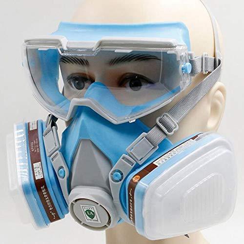 QICLT Atemschutzmaske Vollmaske mit Schutzbrille Gasmaske Passform weich Elastische Schnalle für Chemie-Arbeiten gegen Gase, Dämpfe, Fein-Staub und Partikel