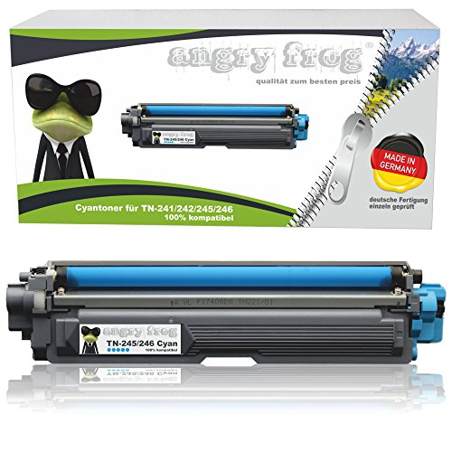 AngryFrog® Cyan XL Toner passend für Brother TN-242 TN-246 für Brother HL-3142 CW HL-3152 HL-3172 DCP-9017 CDW DCP-9022 MFC-9142 CDN MFC-9332 MFC-9342 Schwarz je 2.500 Seiten, Color je 2.200 Seiten