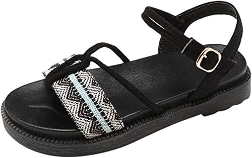 YKDDHH Sandales pour Femmes de Haute qualité Les Les dames Sandales Chaussures Femmes Mode Boucle Chaussures de Plage Plates Femme été Causal Chaussure Sandale Personnalité D'été Non-Slip Confortable Sandale