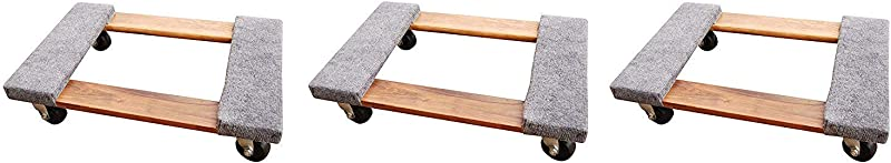 Vestil HDOC 1624 9 Hardwood Dolly With Carpet End 900 Lbs Capacity 24 Length X 16 Width X 5 3 4 Height Deck Pack Of 3