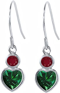 1.14 Ct Heart Shape Green Simulated Emerald Red Ruby 925 Sterling Silver Earrings
