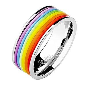 Mianova Herren Band Ring Edelstahl poliert mit Silikon Streifen Bandring Herrenring Partnerring Biker Silber Regenbogen Rainbow Größe 68 (21.6)