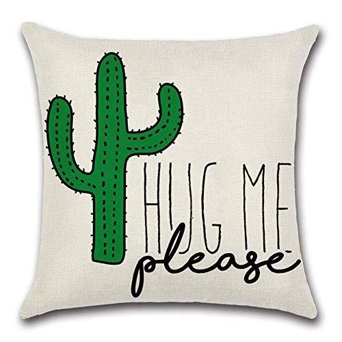 QWE Almohada de sofá por Favor, abrázame Cita de Cactus Funda de Almohada de algodón de Lino Funda de cojín sofá Coche decoración del hogar 45x45 cm