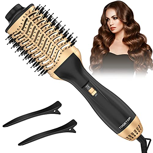 TOGETOP 4 In 1 Haartrockner Warmluftbürste, Ionen Föhnbürste Volumen- und Stylingbürste für alle Haartypen (Gold)