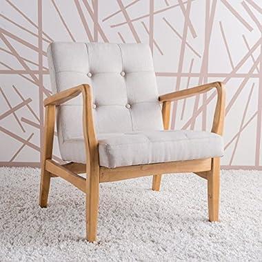 Conrad Medium Beige Fabric Mid Century Modern Club Chair