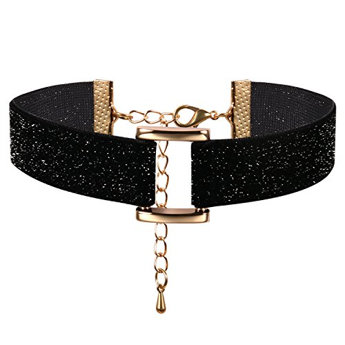 JewelryWe Schmuck Damen Choker Halskette mit Rechteck Anhänger Schwarz Glänzend Stretch Samt Leder Velvet Gothic Halsband Sexy Kette Verstellbar Handarbeit