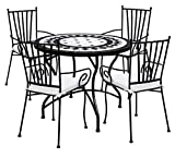 Desconocido TessaHome Set de 4 Sillas de forja con reposabrazos y Mesa Circular Ceramica 90 cm...