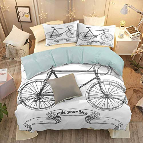 Kids Bed Set 3 Piece (Twin) Bicycle Duvet Cover Set with Zipper Ties and 2 Pillow Cases Ride Your Bike Lettering with Nostalgic Mountain Bike Hand Drawn Sketchy W55 x L78 InchCharcoal Grey White