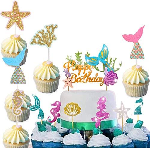 Jiahuade Sirena CakeTopper,Océano Animales Toppers,Torta de Sirena Decoración,Sirena Decoración de Pasteles Hermosa para Cumpleaños Fiesta para bebé niña niños (A)