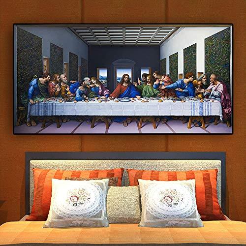 Het Laatste Avondmaal door Leonardo Da Vinci Beroemde Abstracte Canvas Schilderij Scandinave Muur Art Foto voor Woonkamer Decor 40x80cm Frameloos
