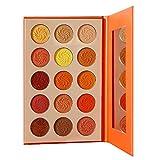 Paleta de maquillaje paleta de sombras de ojos mate y brillante de 15 colores paleta de sombras de ojos naranja, fácil de colorear, alta pigmentación e impermeable