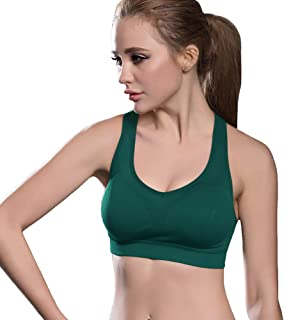 FITTIN Racerback Sports Bras - Padded Seamless High Impact Support for Yoga Gym Workout Fitness with Removable Pads
