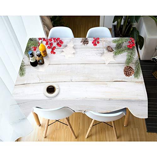 Weiße Hintergrund-Tischdecke für frohe Weihnachten, Tischdecken-Rechteck druckte Karikatur-Hochzeits-Tischdecken-Tischdecke,228x335cm