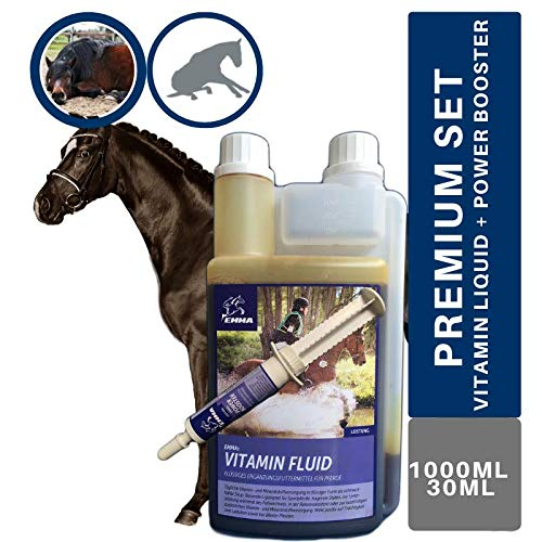 EMMA® Vitamin Liquid Plus Booster I SPARSET I B Vitamine fürs Pferd, B12, B6, B2, B1 I Vitamin E, A, D Selen, Zink, Mineralstoffe 1 Booster 30 ml + 1 L