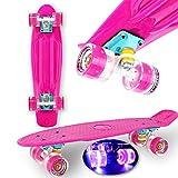 "WeLLIFE Skateboard Mini Cruiser RGX Rosa Tavola Skate 22"" 56cm per Giovani Ragazzi Adulti, Ruote Luminose PU 78A con Luci Flash LED Cuscinetti ABEC-7RS"