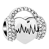 QueenCharms Hear Heartbeat Electrocardiogram Charm ECG Beads for Bracelets (White)
