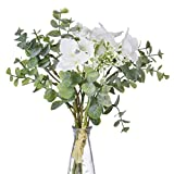 Anna Homey Decor Pack of 1 Bundles Silk Flowers with Stems,Contains 3 Orchids Baby Breath Flowers, 3 Eucalyptus Leaves Fake Flowers for Home, Table, Wedding, Party, Meeting Room Decoration(White)